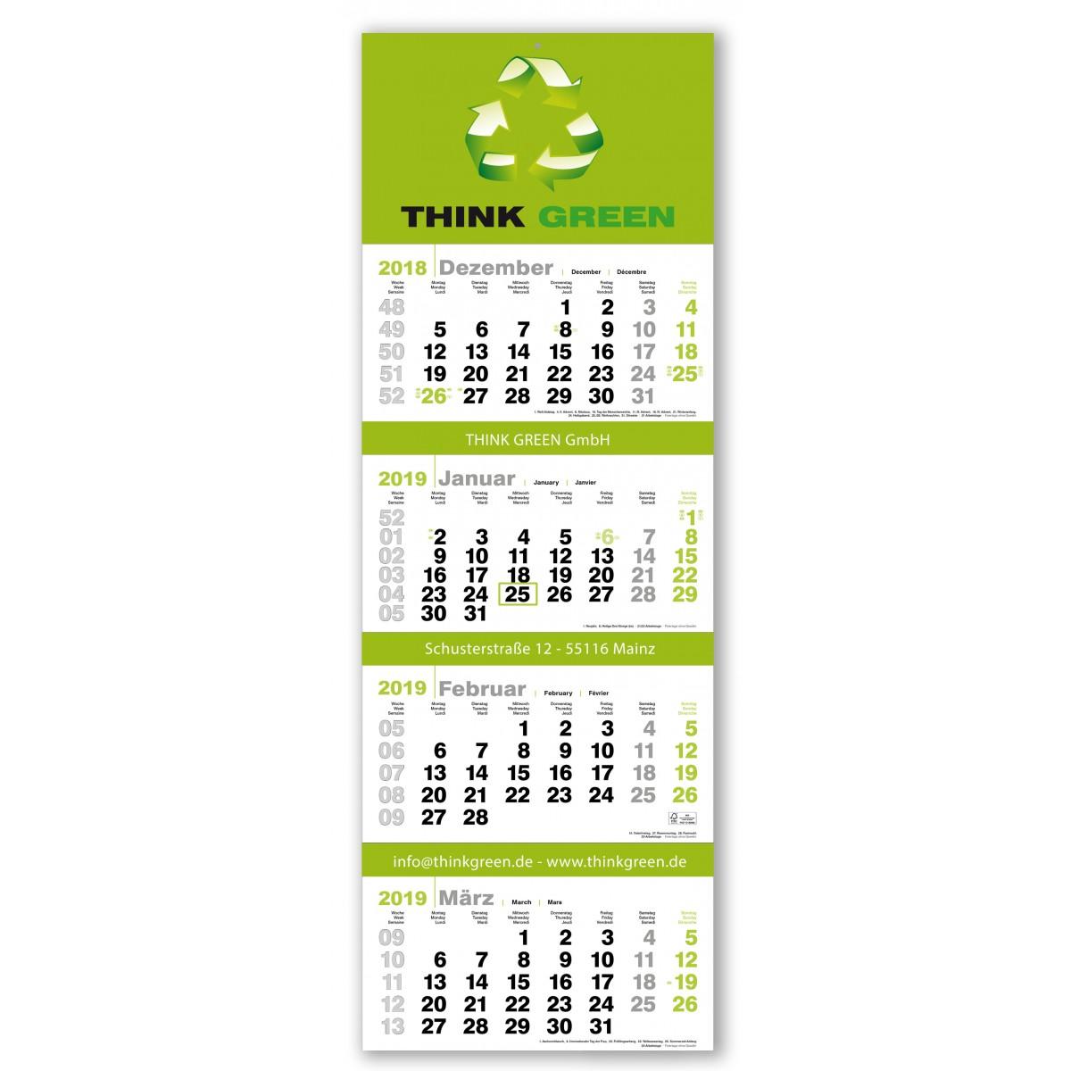 4 Monatsplaner Modell Green Vier