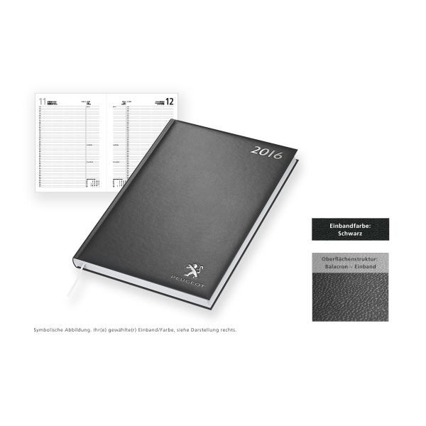 Buchkalender Modell Advokat Balacron schwarz