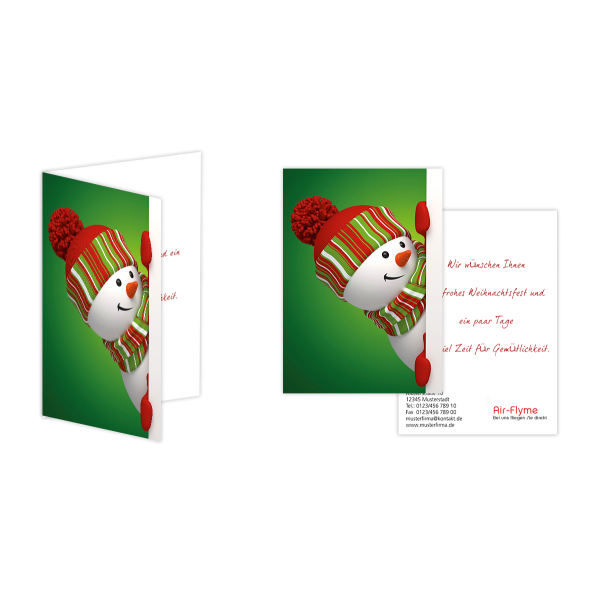 Weihnachtsgrußkarte Schneemann