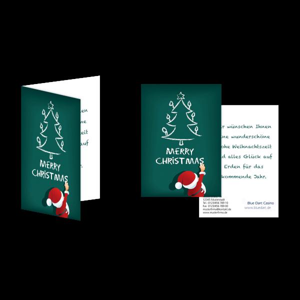Weihnachtsgrußkarte Der Weihnachtsmannn malt